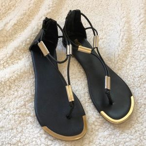 {Mossimo} Black sandals with gold accents